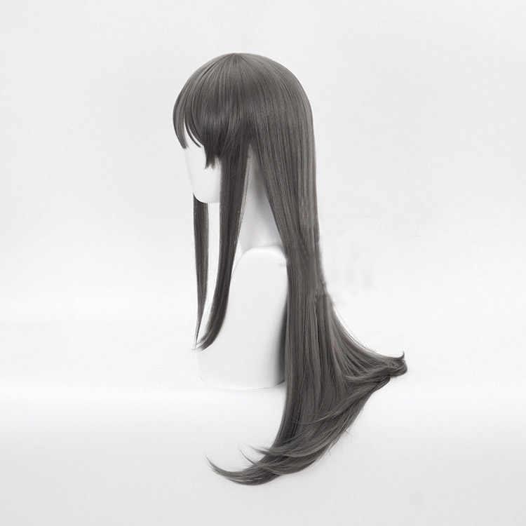 Sakurajima Mai-perruque Cosplay synthétique longue et lisse, couvre-chef ne rêve pas de lapin, perruque grise