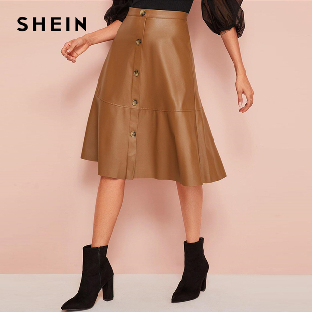 Black Solid Single Breasted Leather Elegant Midi Skirt High Waist