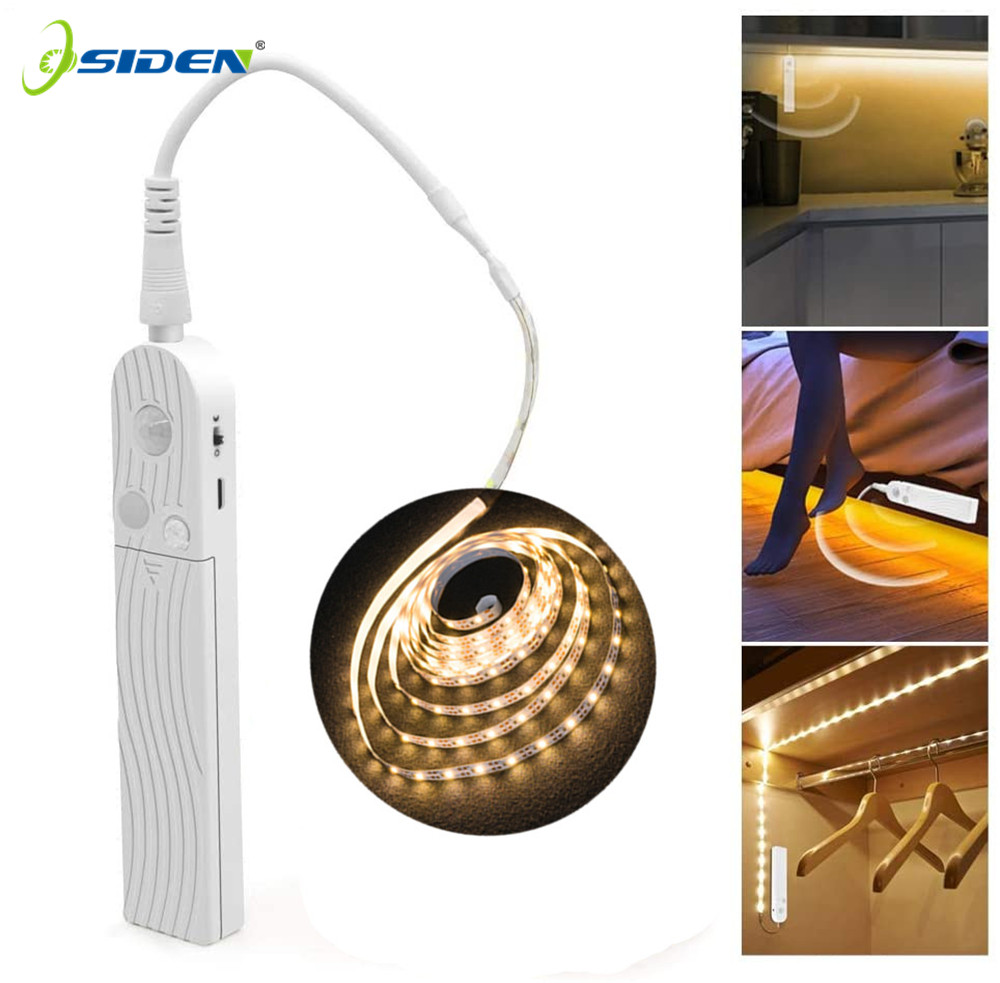 1M 2M 5M Wardrobe light strip PIR Motion sensor Night light Bed Cabinet Stairs light lamp Battery Powered Kitchen Cabinet Light|LED Strips| |  - title=