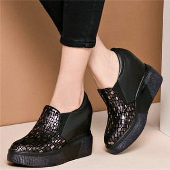 Fashion Sneakers Women Genuine Leather Wedges High Heel Vulcanized Shoes Female Low Top Pointed Toe Pumps Shoes Punk Trainers