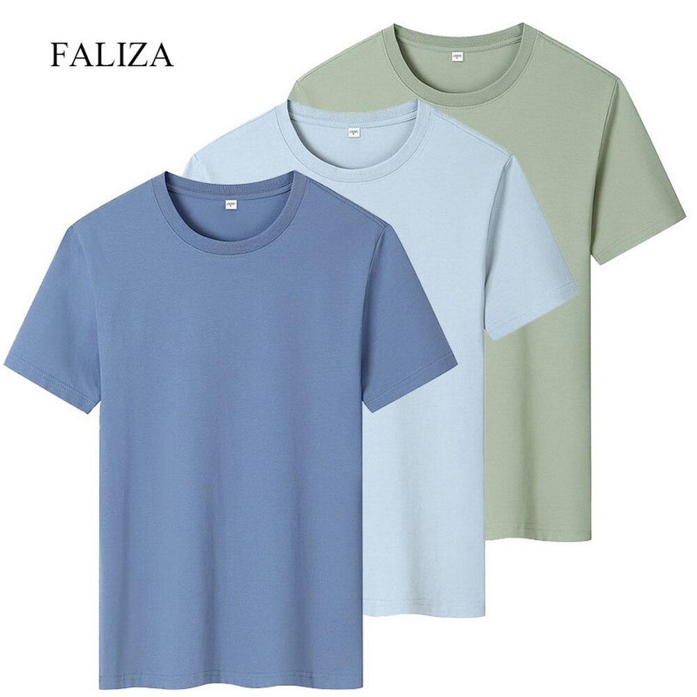 Мужская футболка из 100% хлопка, новая модная однотонная Повседневная футболка с коротким рукавом, 3 шт. в упаковке, летняя футболка, мужские т...