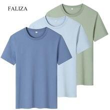 100% coton Hommes T-Shirt Nouvelle Mode Couleur Uni Décontracté Manches Courtes 3-pack T-shirts D'été Respirant Tee Mâle Hauts Vêtements TX156