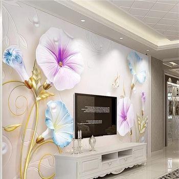 Custom large mural 3D wallpaper Modern fashion luxury Chinese pearl jewelry flower abstract living room wall decor 5D embossed