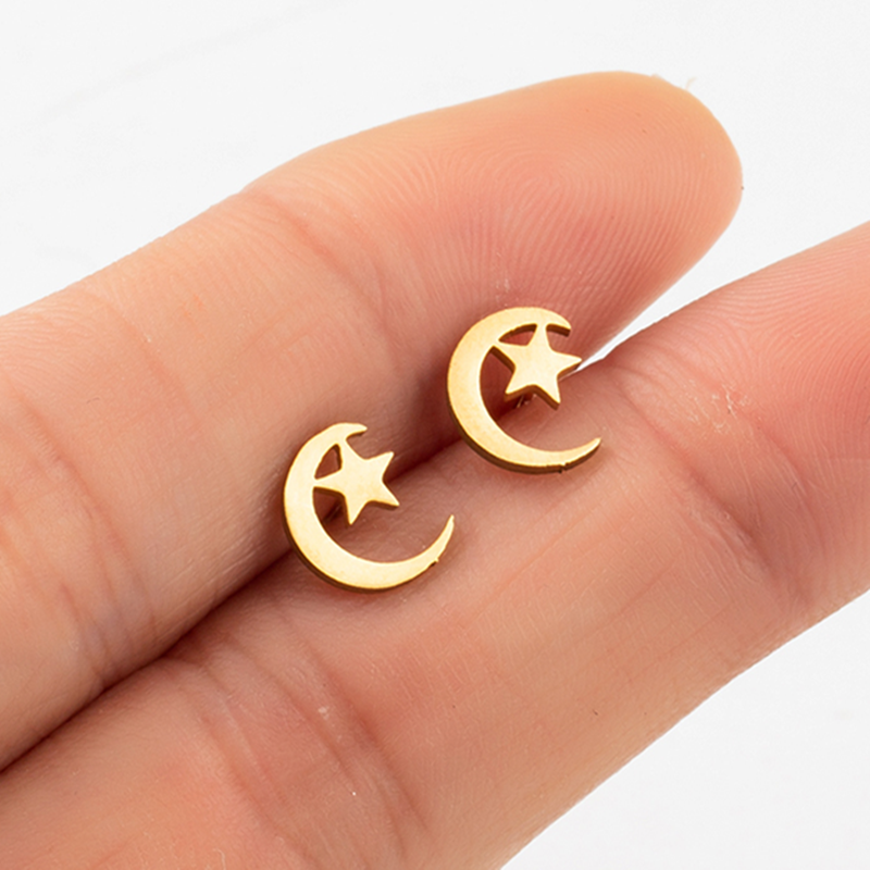 Star Moon ear studs Fashion Mini Golden Silver Color Stainless Steel  Stud Earrings Female 2019 Party Jewelry Girlfriend Gifts