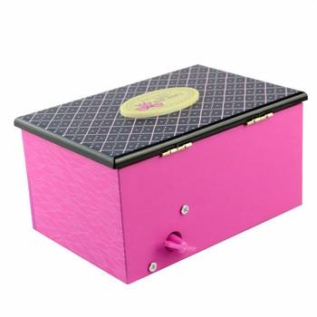 Saim Dancing Ballerina Music Box Children Musical Pink Girl Jewelry Box Mechanism Gift Rectangle with