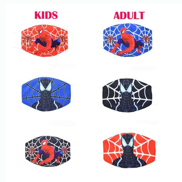2020 New Cartoon Spiderman Mask Women Men Kids Cotton Breathable Auti-Dust Half Mouth Face Masks Supplies ZXT220