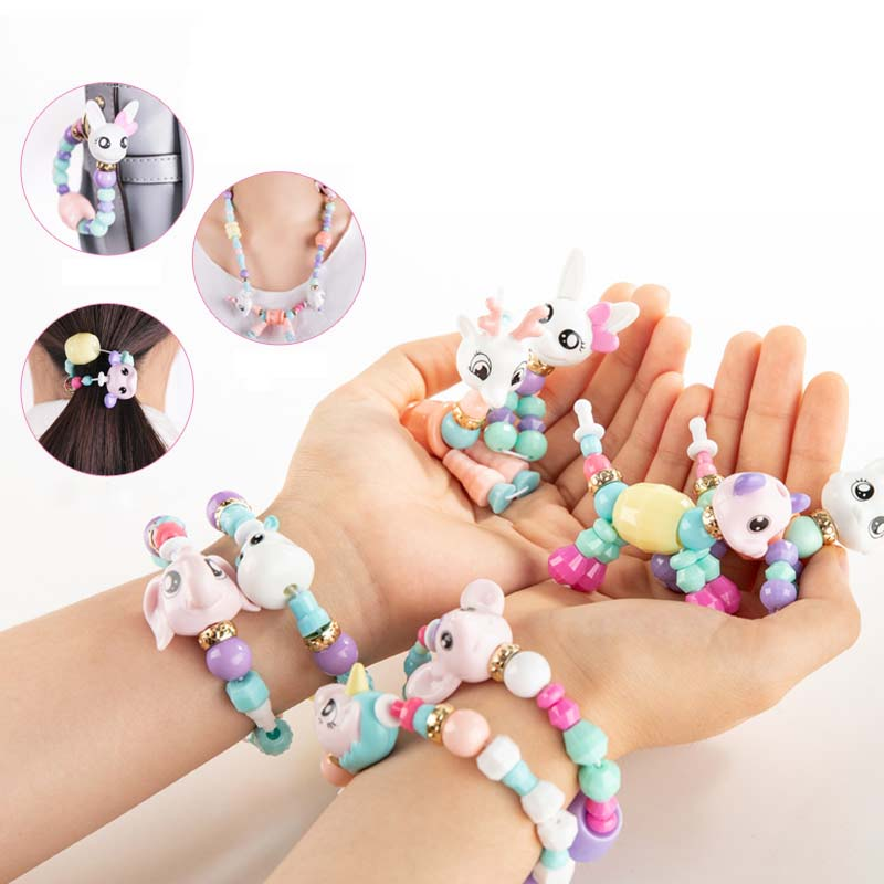 1/5 Pcs Girls Toys Handmade Beads Bracelet Party Bracelets For Kids DIY Magic Animals Variety Bracelets Necklace Education Gifts