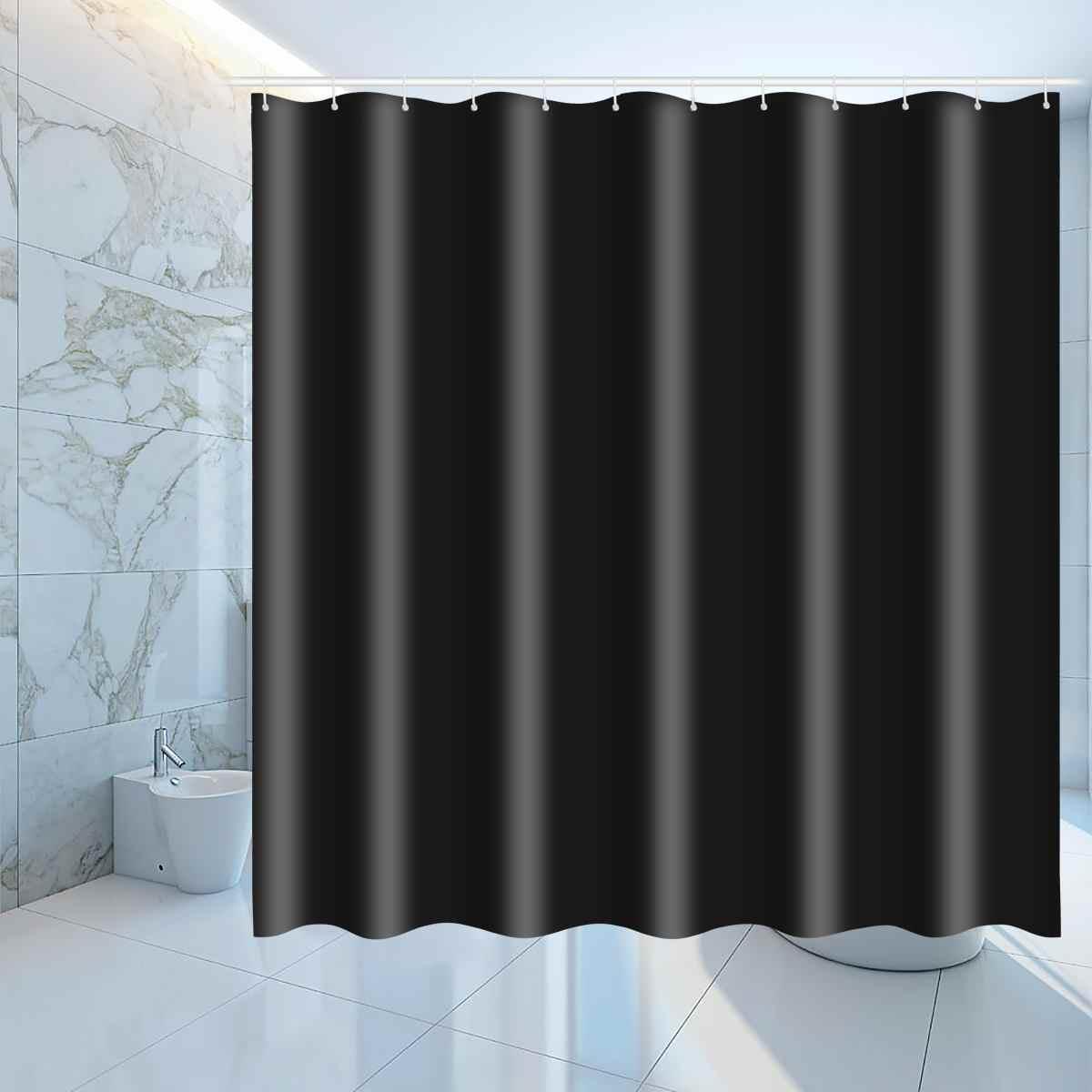 New 3 Sizes Waterproof Polyester Shower Curtains Hooks Set Black Bathroom Window Curtain Bath Curtains Drape Hotel Home Decorati Aliexpress