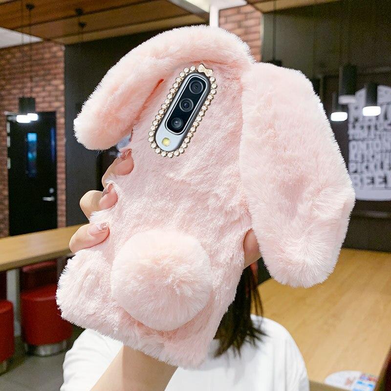 Cute Bunny Fluff Case Samsung Galaxy A50 A70 A71 A30S A12 S20 FE S21 S10 Lite A10 M11 M31 A6 A7 Rabbit