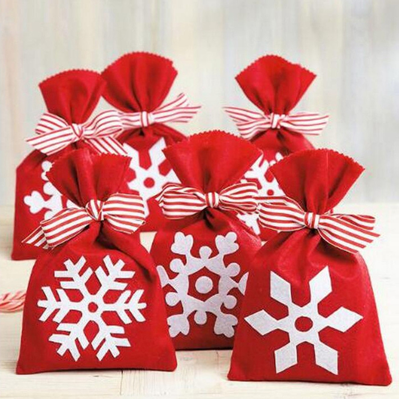 Christmas Candy Gift Bag Snowflake Print Bowknot Drawstring Shop Birthday Party Package 2019 New Novelty Funny Toy Storage Bags