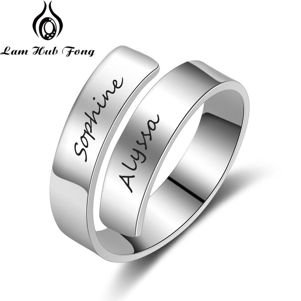 Anel Nome personalizado para Mulheres Gravado 2 Nomes Anel Ajustável Anel da Promessa para Casal Presente de Aniversário Personalizado (Hub Lam fong)