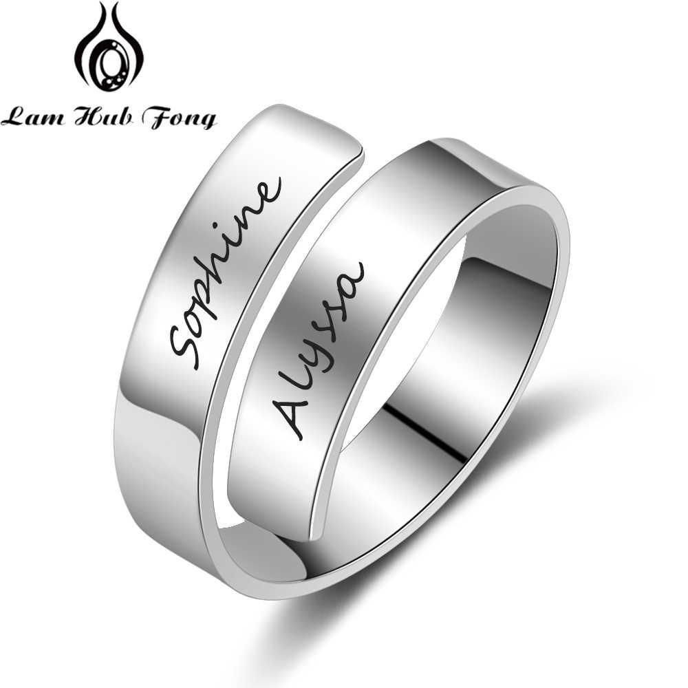 Персонализированное именное кольцо для женщин с гравировкой 2 имени регулируемое кольцо на заказ обещающее кольцо для пары Подарок на годовщину (Lam Hub Fong)