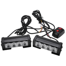 цена на 2pcs 12V Vehicle Car Front Deck Grille LED Strobe Flash Light Police Emergency Hazard Warning Strobe lamp Running Lights