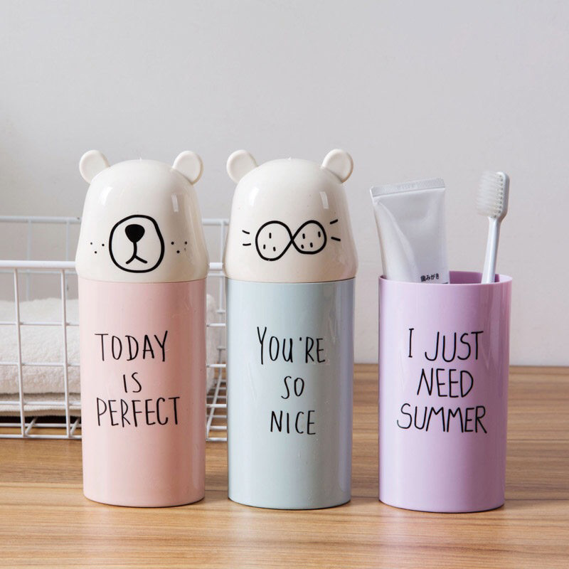 Cartoon Bear Toothbrush Holder Organizer Cup Portable Toothpaste Toothbrush Cover for Travel Bathroom Accessories image