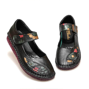 Image 5 - 2020 Summer Lady Genuine Leather Shoes Women Flower Printing Soft Sole Hollow Flat Shoes Slip on Loafers for Women Vintage Flats