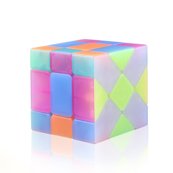 Original Neo Qiyi Speed Cube Jelly Color Magic Cube Moving Edge Shaped Cubes Fun Toy For Children Puzzle Toy Cubo Stickerless qiyi jelly color fun magic cube 3x3 stickerless speed cube puzzle finger toy antistress education toys for children cubo magico