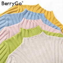 BerryGo jesienno-zimowy sweter z długim rękawem i golfem damski wielokolorowy dziergany sweter sweter Casual chic lady bestmatch jumper(China)