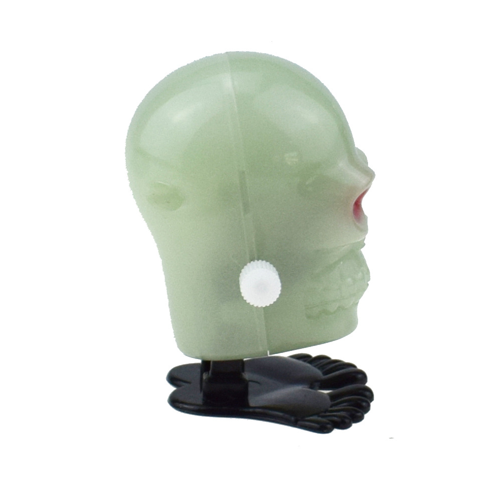 Novelty Funny Winding Spring-Winding Jumping Night Light Effect Skull Halloween Christmas Small Gifts Toy