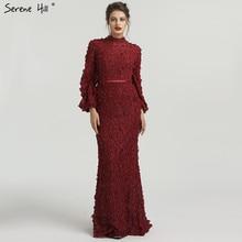Цветы жемчуг Длинные рукава Русалка мусульманское вечернее платье модные элегантные вечерние платья беззаботный холм размера плюс LA6293
