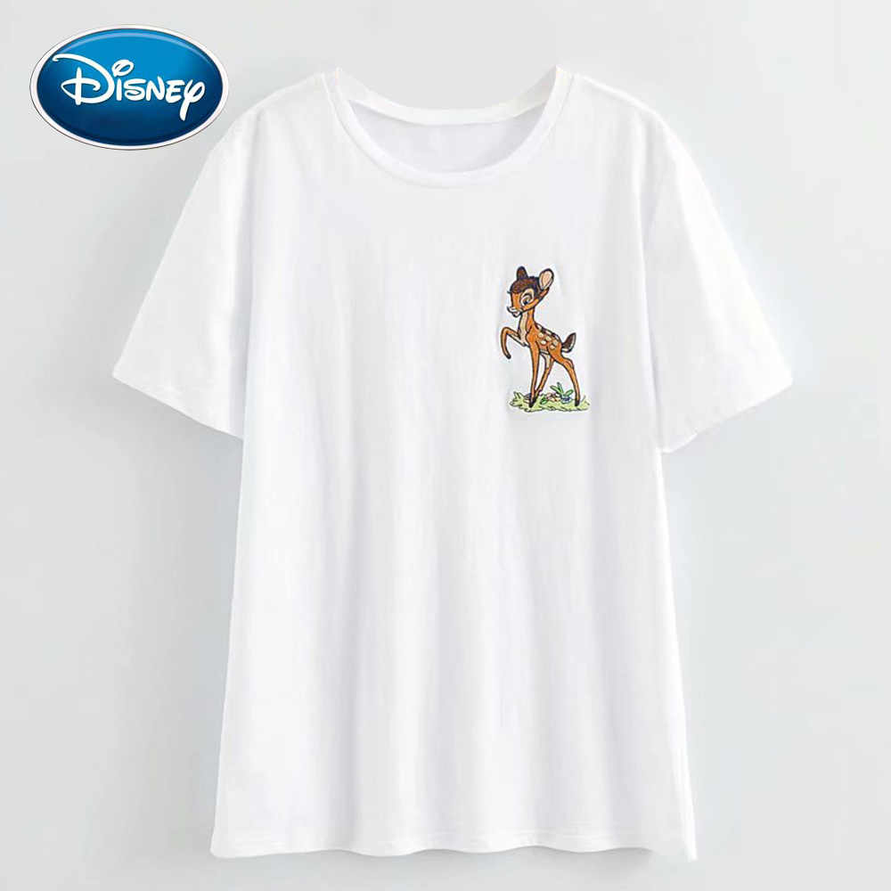 Disney Stilvolle Deer Bambi Cartoon Print Stickerei Frauen T-Shirt Casual Oansatz Pullover Kurzarm Streetwear Harajuku T Top