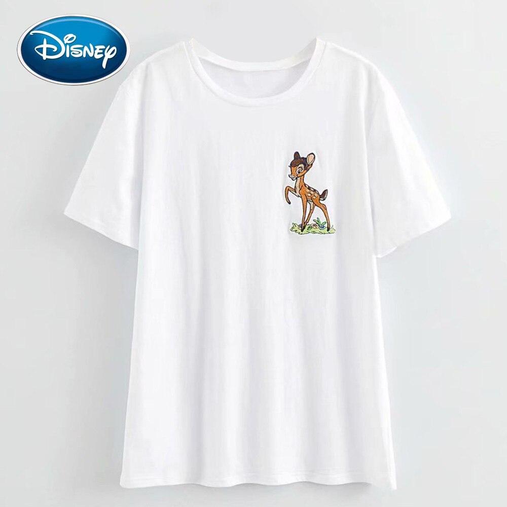 Disney Stylish Deer Bambi Cartoon Print Embroidery Women T-Shirt Casual O-Neck Pullover Short Sleeve Streetwear Harajuku Tee Top