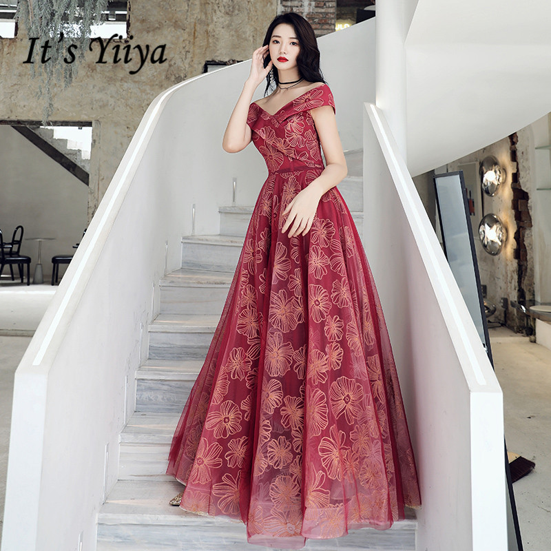 It's Yiiya Evening Dress Long Off Shoulder Evening Dresses Burgundy Print Formal Gowns For Women Plus Size Robe De Soiree LF120