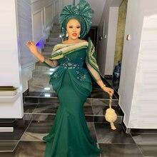 Vestido de baile verde esmeralda sereia frisado apliques babados um ombro três quartos manga formal aso ebi vestidos