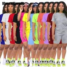 Meren Verado S-4XL damskie dwuczęściowe zestawy dresy z krótkim rękawem topy + spodenki do biegania spodnie garnitur Sport Fitness strój pasujący zestaw