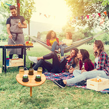 Foldable Wooden Wine Table Round Desktop Portable Picnic Table Wine Racks For Outdoor Picnic Camping Party Wine Holders Table