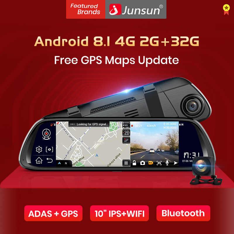 """Junsun A960 Android 8,1 ADAS 2G + 32G 10 """"medios dash Leva de la cámara grabadora de cámara de coche dvr dashcam GPS de navegación 1080P WIFI"""