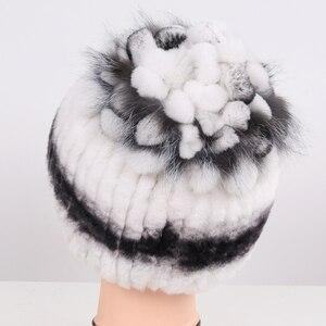 Image 4 - Sombrero de piel Real para mujer buen punto elástico auténtico de piel de conejo Rex sombrero de Invierno para mujer cálido grueso de piel Natural al por mayor al por menor