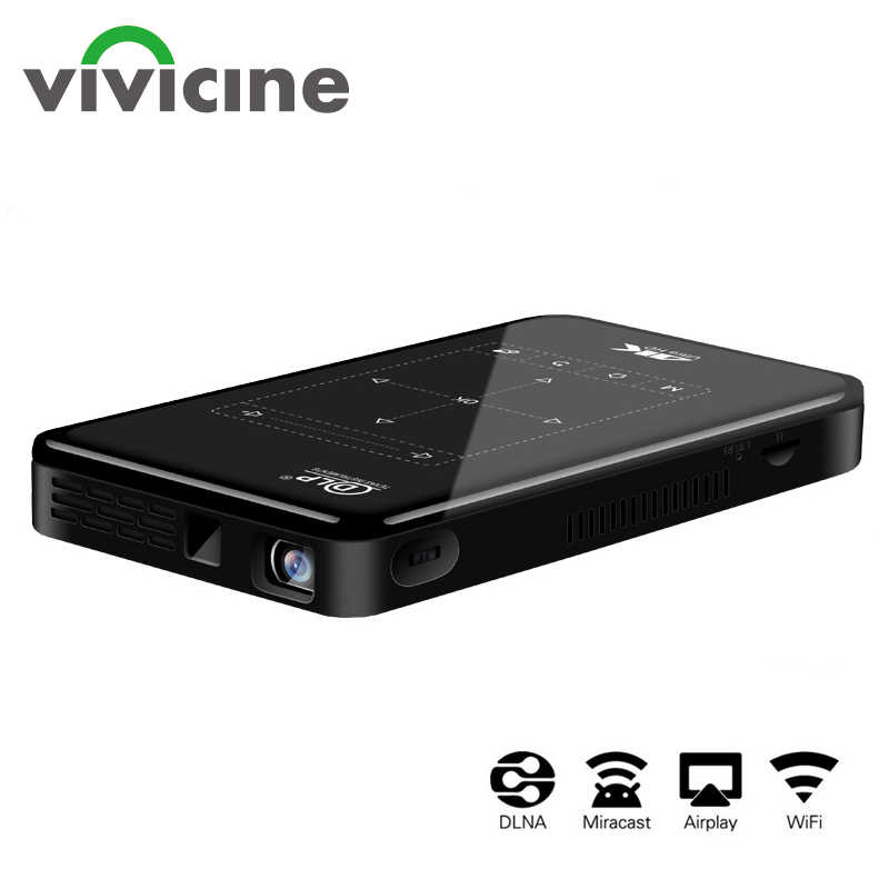 Vivicine desteği 4K Mini projektör, 4000mAh pil, destek Miracast Airplay el mobil projektör Video Beamer