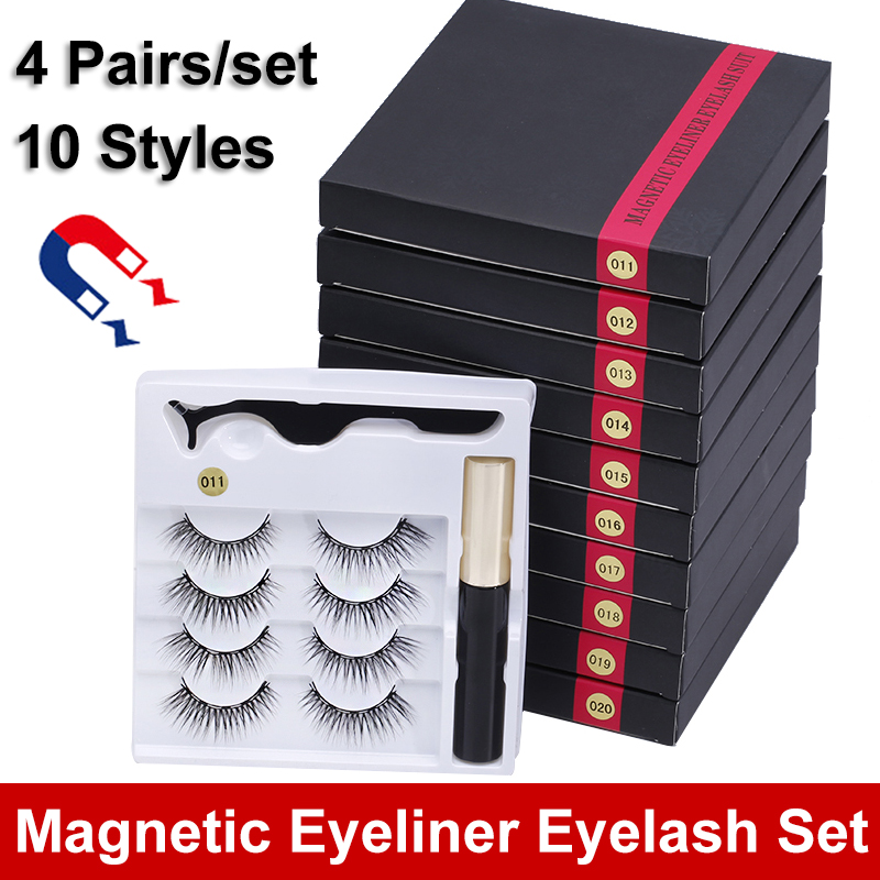 New 4 Pairs/set 5 Magnet Magnetic Eyelash Magnetic Liquid Eyeliner & Tweezer Set Waterproof Long Lasting Eyelash Extension Tools