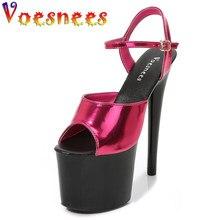 Sapatos de stripper mulheres sexy mostrar sandálias 15 17 20 cm plataforma salto alto sandálias modernas sandálias cor sexy meninas sapato para festa