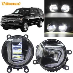 Buildreamen2 Car H11 projektor LED światło przeciwmgielne + światło do jazdy dziennej DRL biały 12V akcesoria do Lincoln Navigator 2007-2014
