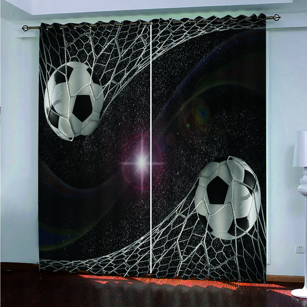Cartoon Football Ball Blackout Curtains For Window Treatment Blinds Finished Drapes Window Blackout Curtains For Living Bedroom