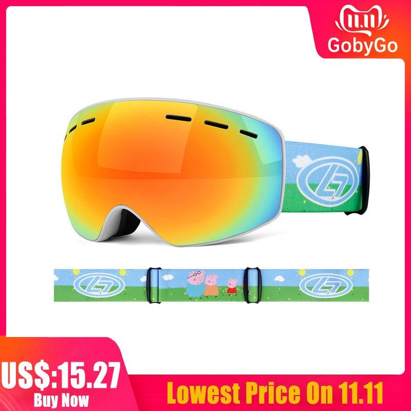 Kid Ski Goggles UV400 Anti-fog  Ski Mask Glasses Double Layers Skiing Snow Snowboard Eyewear For Child Children Girl 4-16 Years