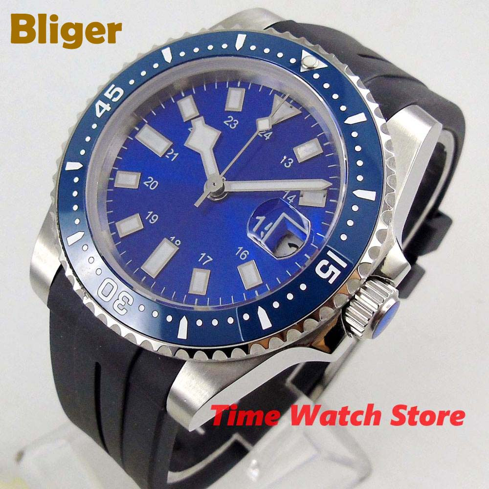 40mm Bliger Miyota 8215 automatic Watch men waterproof rubber bracelet stainless steel blue dial luminous ceramic bezel