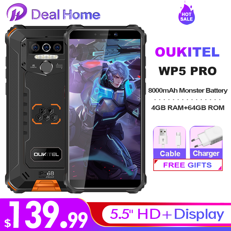 Смартфон OUKITEL WP5 Pro, водостойкий, IP68, 8000 мА ч, тройная камера, разблокировка по лицу и отпечатку пальца, Android 10, 5,5 дюйма, 4 + 64 ГБ