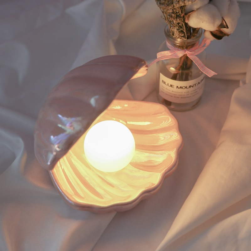 Ins Ceramic Shell With Pearl Night Light Streamer Mermaid Light Fairy Shell Night Lamp For Bedside Home Decor Holiday Gift