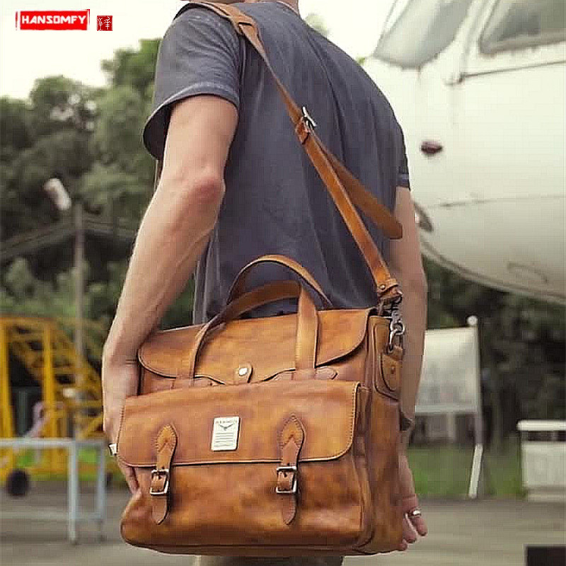 First Layer Leather Cowhide Men's Handbag Official Business Briefcase Men Laptop Bag Shoulder Bag Retro Travel Portable Bags