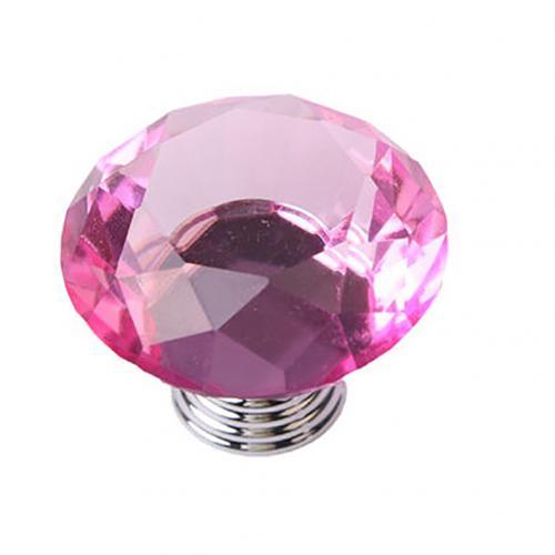 5 шт., 30 Вт, 40 мм с украшением в виде кристаллов Стекло ручки шкаф для кухонных шкафов, выдвижной ящик для шкафа ручки Diamond Форма дизайн с украшением в виде кристаллов Стекло ручки шкафа - Цвет: Pink 40mm