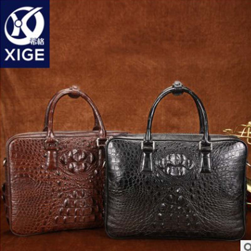 Xige Crocodile  A Briefcase  Male  Worn  Commercial Package  Genuine Leather  Big Bag  Handbag  One Shoulder Bag  Business  Men