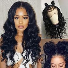 13 × 4レースフロント人毛ウィッグ事前摘み取らルーズウェーブ人毛のかつら女性ブラジルのremy自然な髪
