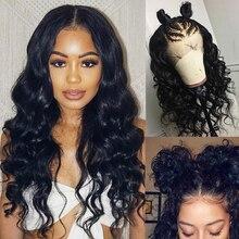 13х4 кружевные передние человеческие волосы, парики с детскими волосами, предварительно выщипанные свободные волнистые человеческие волосы, парик для черных женщин, бразильские натуральные волосы Remy