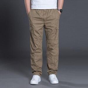 Image 2 - קיץ סתיו אופנה גברים מכנסיים מקרית כותנה מכנסיים ארוכים ישר רצים Homme בתוספת גודל 5xl 6xl שטוח מכנסיים לגברים בגדים