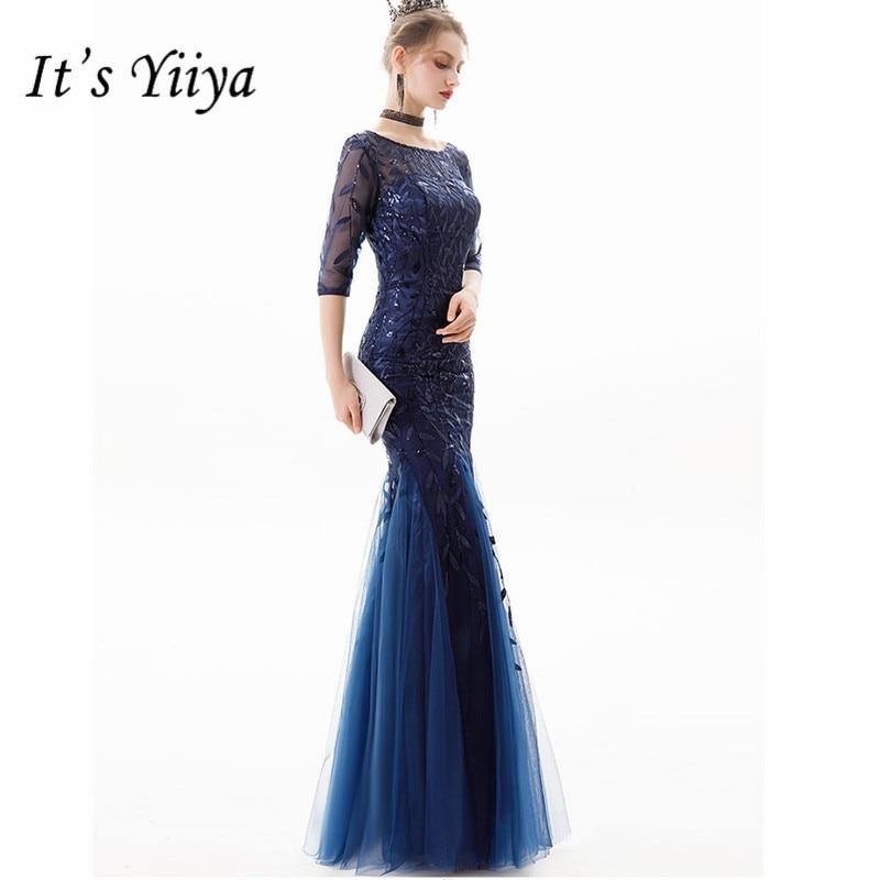 It's Yiiya   Evening     Dress   2019 Vintage O-neck Mermaid Plus Size Women Party   Dresses   Floor-Length Robe De Soiree E819