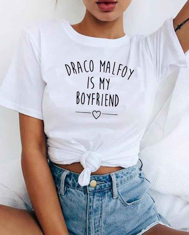 2019 New Draco Malfoy Is My Boyfriend Letter Print T-shirt WISH Cotton Custom