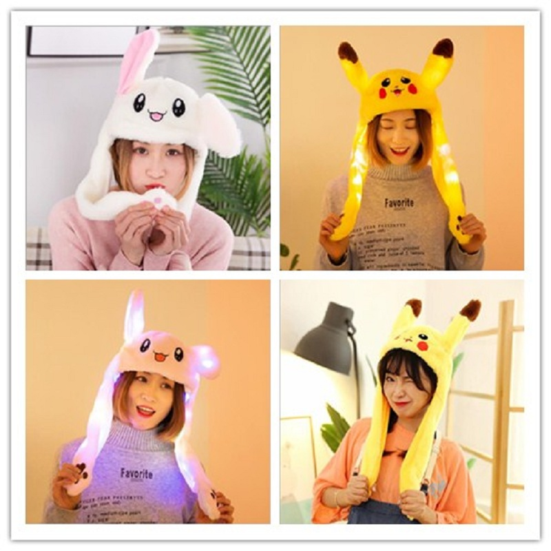 2019 Fashion Moving Hat Rabbit Ears Plush Sweet Cute Airbag Cap Polyester With Light