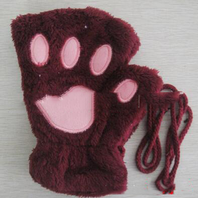 Women Cute Cat Claw Paw Plush Mittens Warm Soft Plush Short Fingerless Fluffy Bear Cat Gloves Costume Half Finger Black Beige